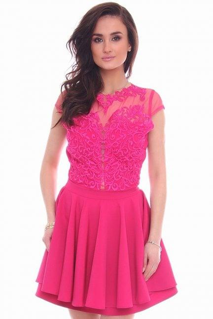 Sukienka rozkloszowana CMK996 fuksja