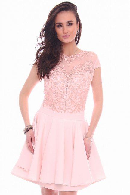 Sukienka rozkloszowana CMK996 różowa