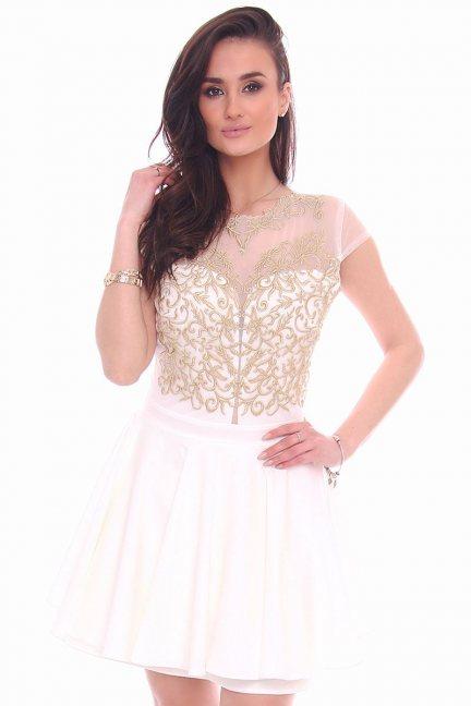 Sukienka rozkloszowana CMK996 biała