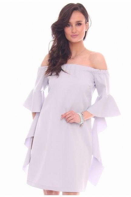 Sukienka odkryte ramiona CMK354 szara