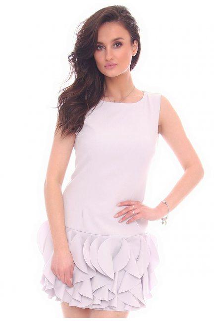 Sukienka mini z falbankami CMK187 szara
