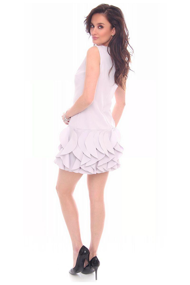 ac2ed90e9f ... falbankami szara  Modne sukienki wizytowe online w sklepie CosmosModa