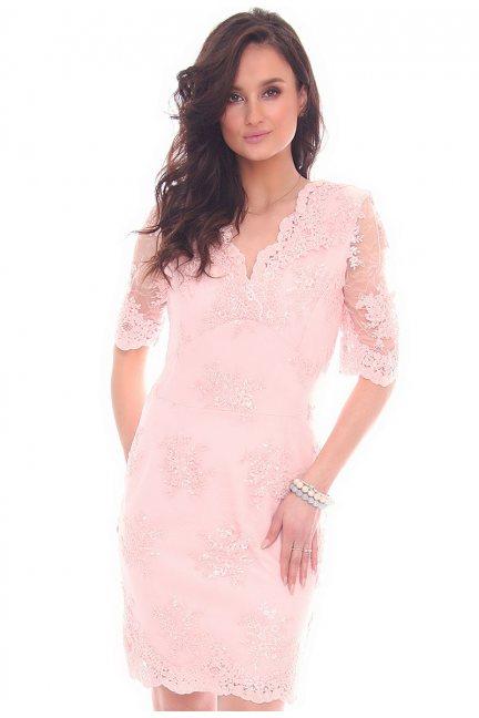 Sukienka koronkowa CMK707 różowa