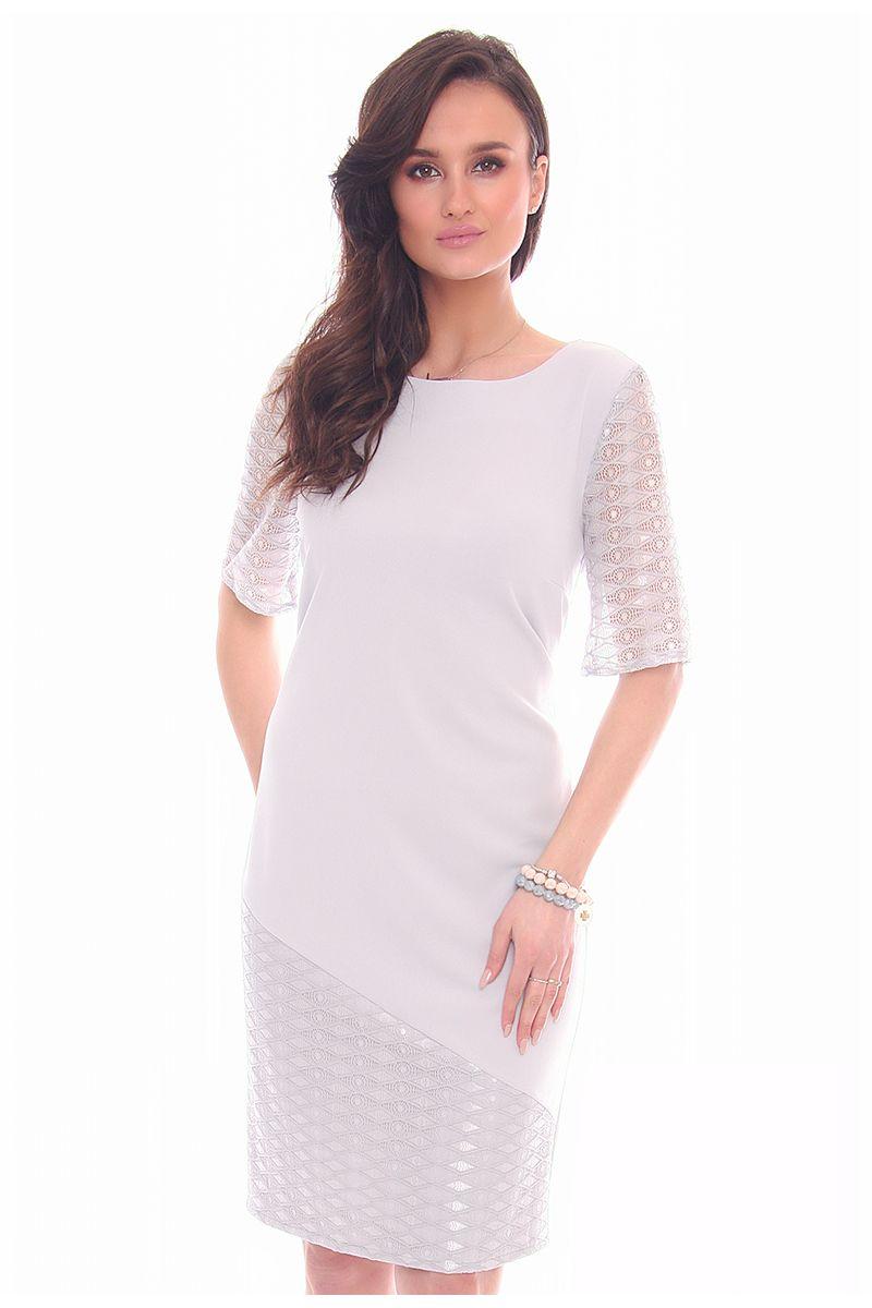 1f26cfb815 Sukienka koronkowe rękawy CMK949 szara sukienki wizytowe CosmosModa