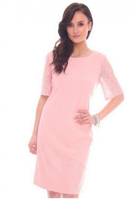 Sukienka koronkowe rękawy CMK949 różowa