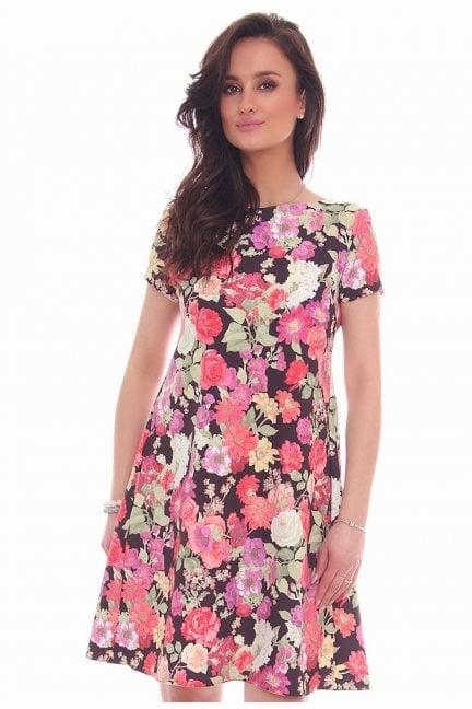 Sukienka zakładki w kwiaty czarna
