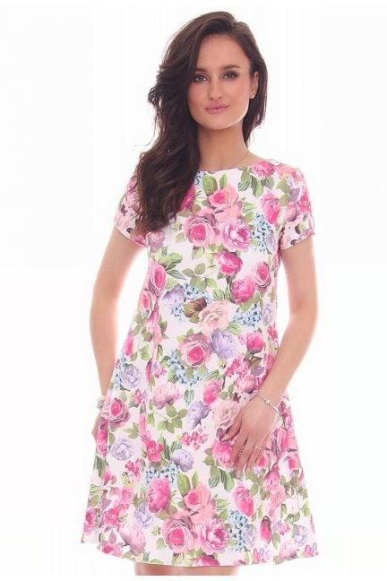 Sukienka zakładki w kwiaty różowa