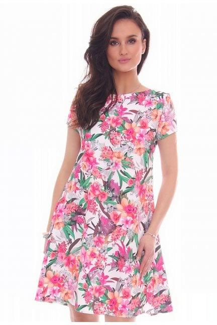 Sukienka zakładki w kwiaty CM591 biała