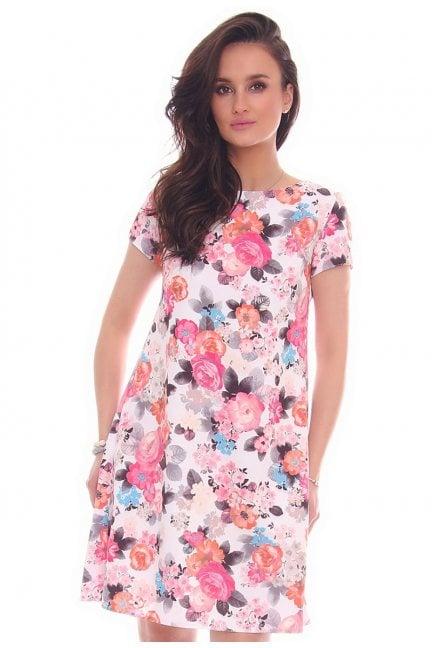 Sukienka zakładki w kwiaty jasno różowa
