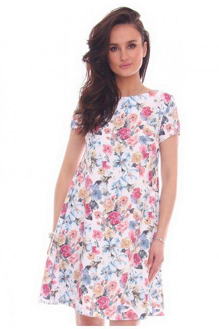 Sukienka zakładki w kwiaty niebieska