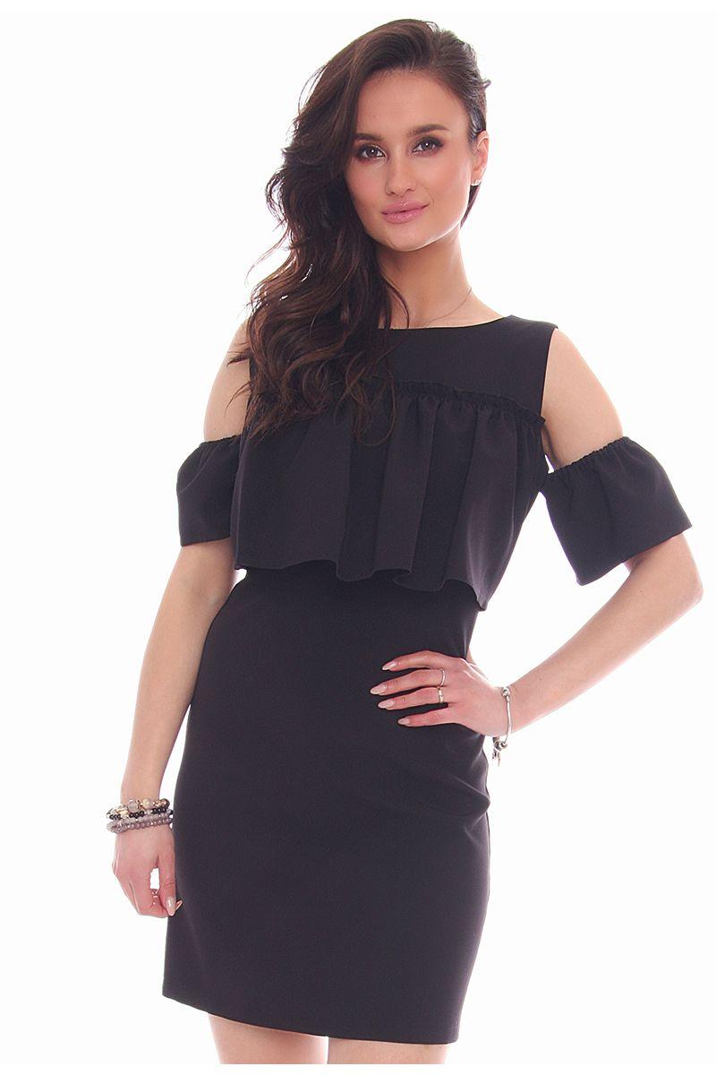 a1ff2f8ede Sukienka mini falbanka CM577 czarna modne sukienki damskie CosmosModa