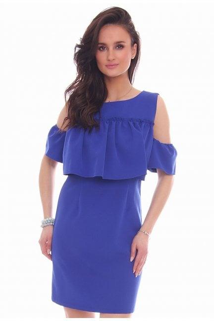 Sukienka mini odkryte ramiona chabrowa