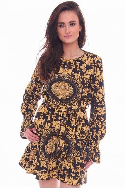 Sukienka wiązana wzór CMK999 czarna