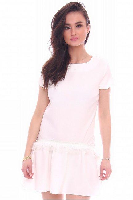 Sukienka mini z falbanką CMK12 biała