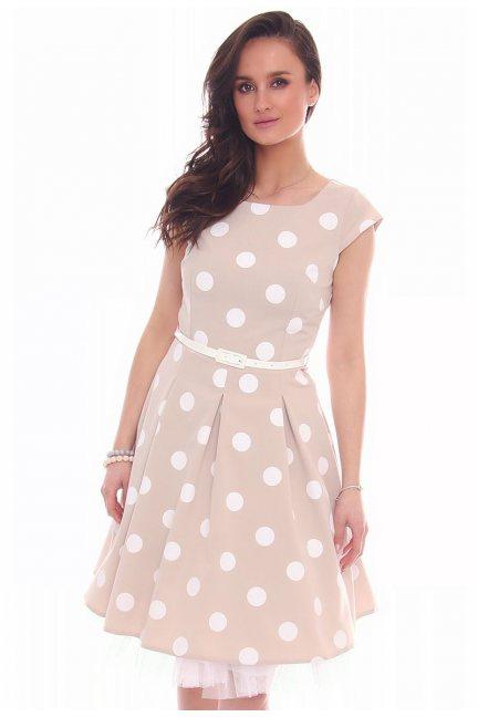 Sukienka w grochy midi CMK520 beżowa