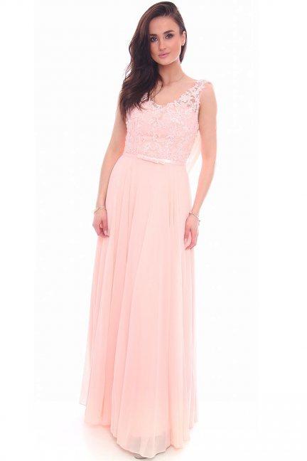 Sukienka maxi z koronką CMW24 różowa