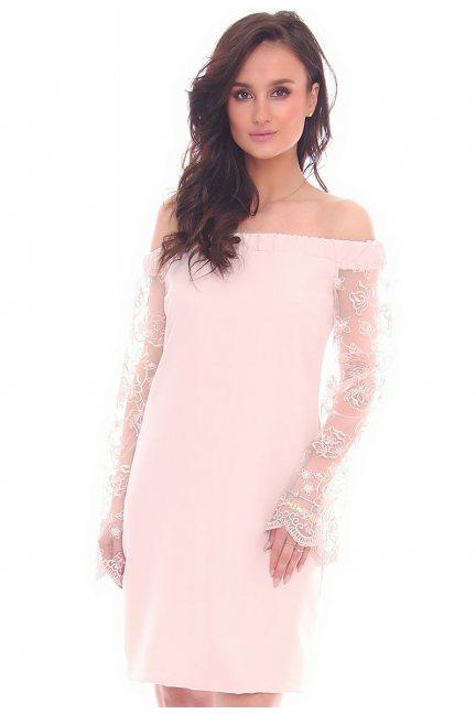 Sukienka odkryte ramiona CMK16 beżowa