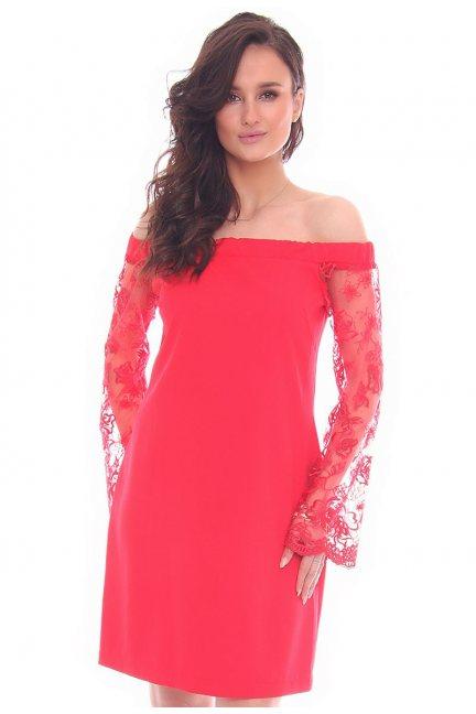 Sukienka odkryte ramiona CMK16 czerwona