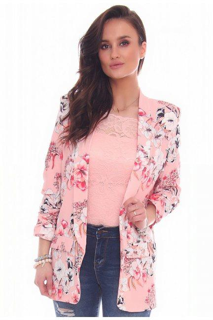 Marynarka modna w kwiaty CMK17 różowa