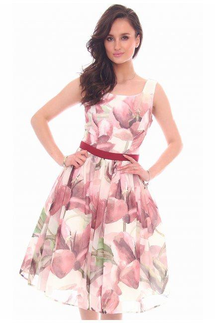 Sukienka klosz kwiaty CMK18 biała