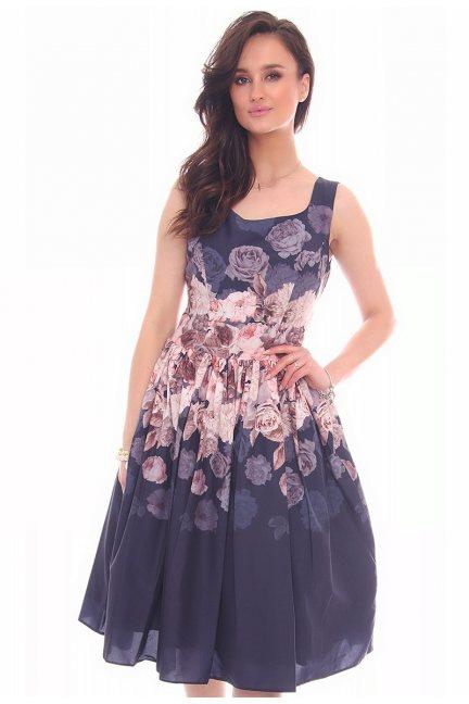 Sukienka elegancka kwiaty CMK19 granatowa