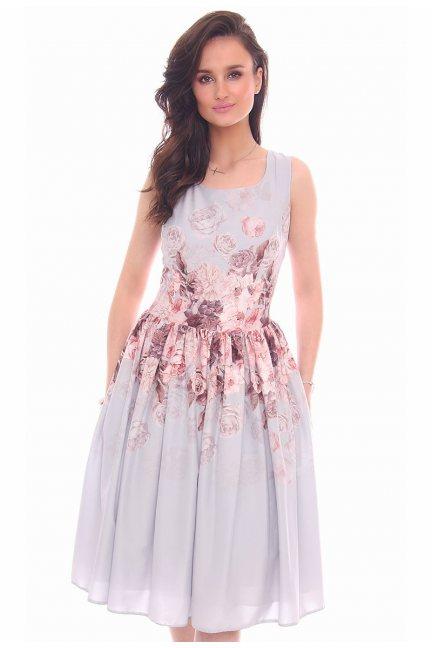 Sukienka elegancka kwiaty CMK19 szara