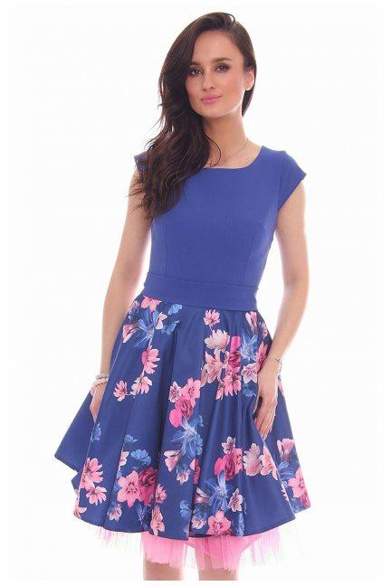 Sukienka wiązana kwiaty CMK24 chabrowa