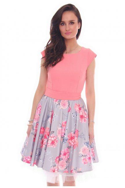 Sukienka wiązana kwiaty CMK24 szara
