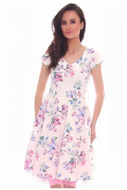Sukienka w kwiaty dekolt CMK25 biała