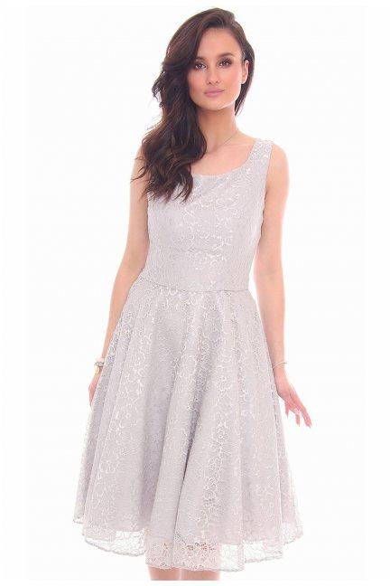 Sukienka elegancka midi CMK28 szara