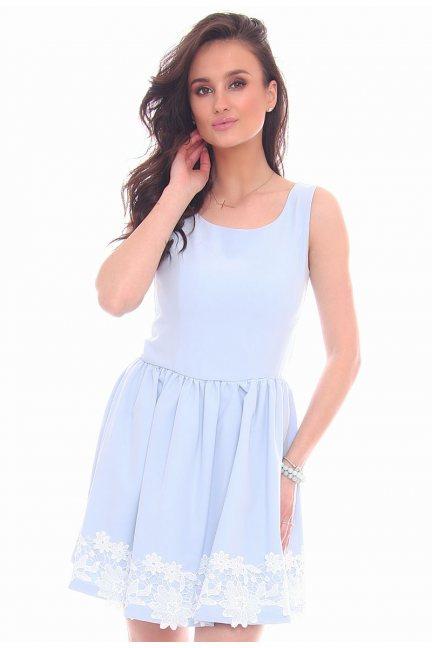 Sukienka mini z koronką CMK29 błękitna