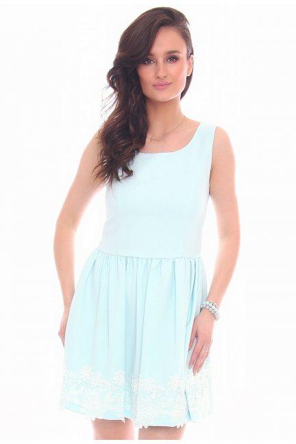 Sukienka mini z koronką CMK29 miętowa