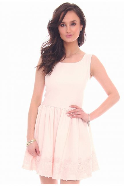 Sukienka mini z koronką CMK29 beżowa