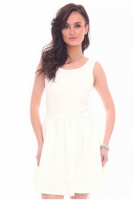 Sukienka mini z koronką CMK29 biała