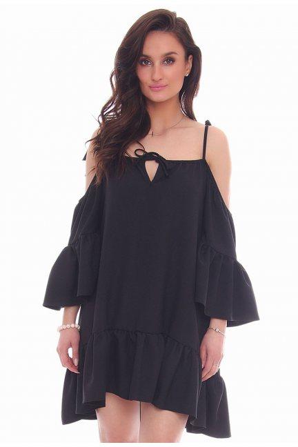 Sukienka wiązana falbanka CMK31 czarna