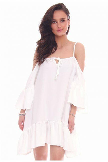 Sukienka wiązana falbanka CMK31 biała