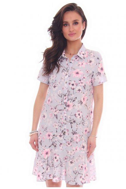 Sukienka w kwiaty guziki CMK32 szara