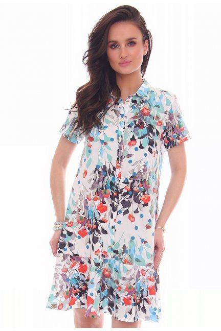 Sukienka w kwiaty guziki CMK32 biała