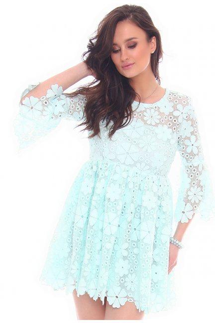 Sukienka elegancka gipiura CMK33 miętowa
