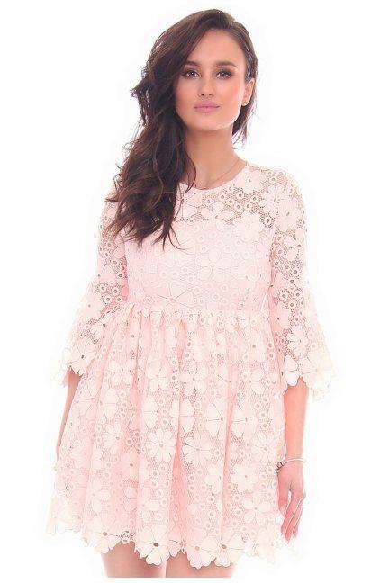 Sukienka elegancka gipiura CMK33 różowa