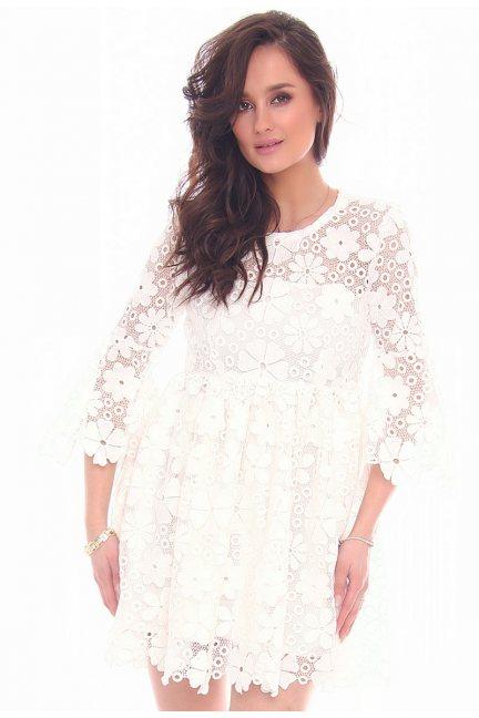 Sukienka elegancka gipiura CMK33 biała