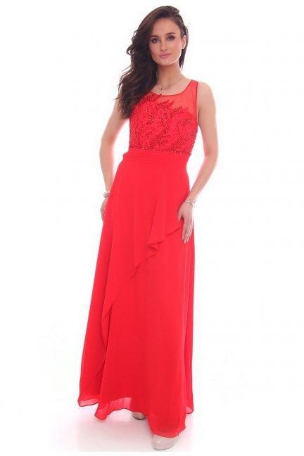 Sukienka maxi z falbanką CMW25 czerwona