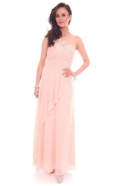 Sukienka maxi z falbanką CMW25 różowa