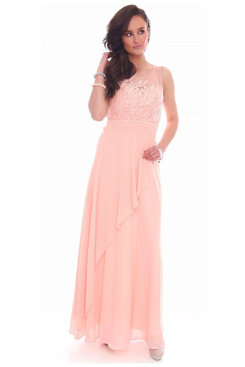 Sukienka maxi z falbanką CMW25 różowa modne sukienki sklep