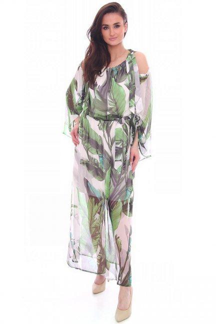 Sukienka zwiewna w kwiaty CMK993 biała