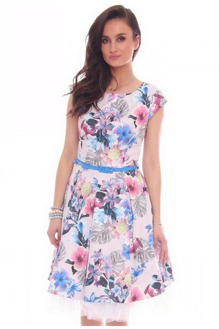 Sukienka w kwiaty midi CMK519 beżowa