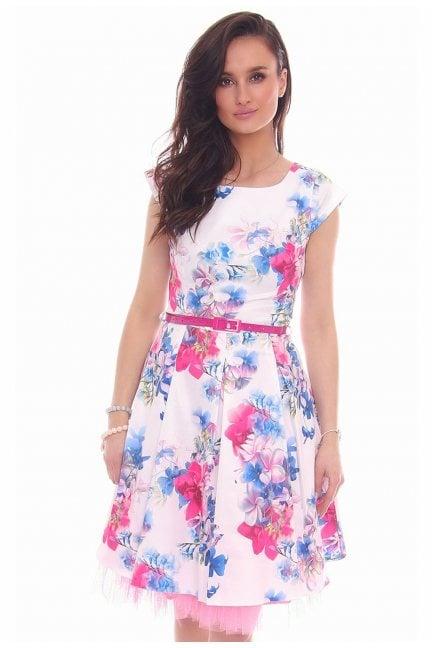 Sukienka w kwiaty midi CMK519 biała