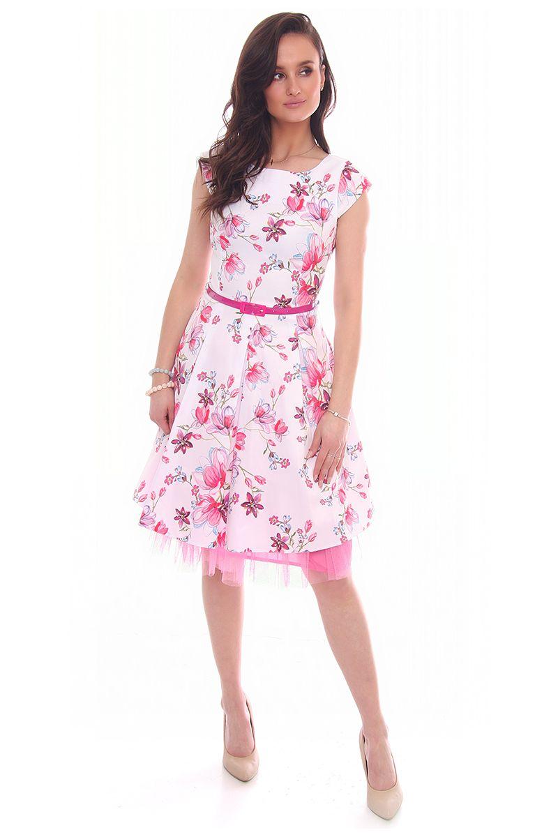 0cfe0074ce Sukienka w kwiaty midi CMK519 biała · Sukienka elegancka na wesele ·  Sukienka damska z zakładkami · Sukienka stylowa z krótkim rękawem ...