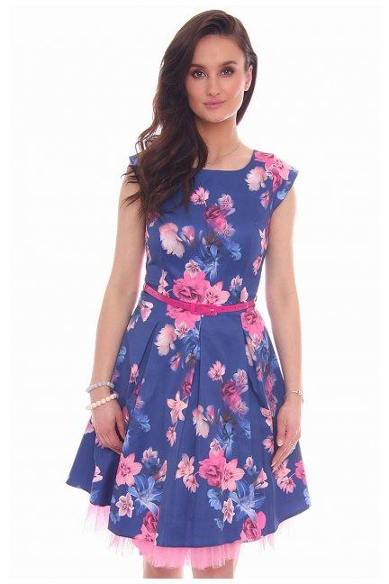 Sukienka w kwiaty midi CMK519 granatowa
