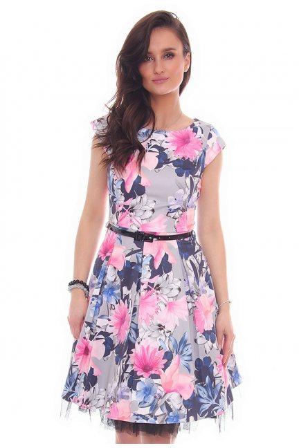 Sukienka w kwiaty midi CMK519 szara
